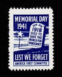 POSTER STAMP MEMORIAL DAY ⭐ LEST WE FORGET ⭐ 1941 MNH-OG (SCARCE)