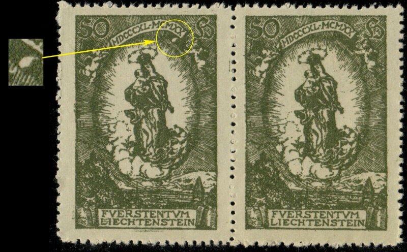 LIECHTENSTEIN 1920 Mi.40.IV weisser Punkt unten X in pair with normal **