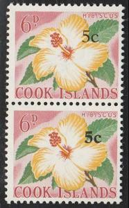 COOK ISLANDS 1967 5c on 6d pair variety : large & small 5..................65898