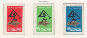 SINGAPORE, 1968 National Day set of 3, mnh.