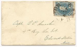 CSA Scott #4 Stone 2 on Cover Osyka, MS June 7 (1862) Military Address VF