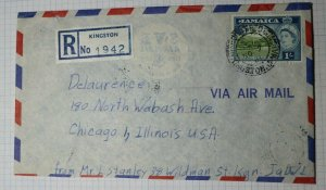 Jamaica Kingston Registered Letter SVE Airmail Lion Brand Sc# 168 1961