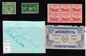 US STAMP BOB, REVENUE, OTHER STAMPS, AUTOGRAPH COLLECTION LOT  #2
