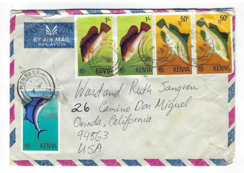 About 1977 Kenya To USA Cover With Fish Issue (II67)