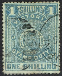 VICTORIA 1884 STAMP DUTY 1/- USED