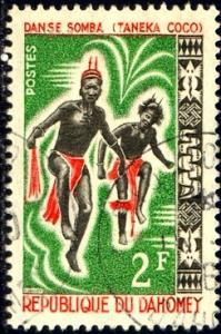 Somba Dance, Regional Dance, Dahomey stamp SC#185 Used