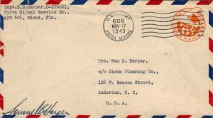 United States A.P.O.'s 6c Monoplane Air Envelope 1943 U.S. Army, Postal Servi...