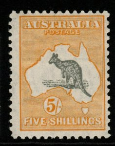 AUSTRALIA SG111 1929 5/= GREY & YELLOW MNH