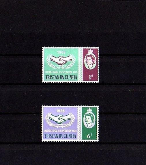 TRISTAN DA CUNHA - 1965 - QE II ICY - COOPERATION YEAR - 2 X  MINT - MNH SET!