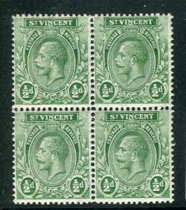 ST. VINCENT; 1921 early GV issue fine Mint hinged 1/2d. Block of 4