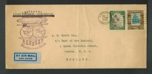 1936 Kingston Jamaica Hindenburg Zeppelin Cover to England Bank of New Zealand