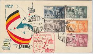 60222 -  SPAIN - POSTAL HISTORY - FIRST FLIGHT COVER not flown! EDIFIL 38 1956