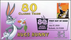 20-217, 2020, SC 5500, Bugs Bunny, First Day Cover, Pictorial Postmark, 80th Ann