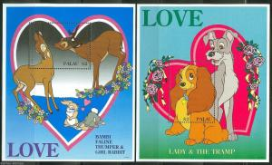 PALAU  DISNEY SCOTT#394/95 LOVE  SET OF SOUVENIR SHEETS MINT NH
