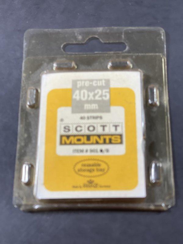 PRINZ/SCOTT MOUNTS--40 x 25---PRE-CUT--40 PACK--BLACK BACKGROUND--NEW-OLD STOCK