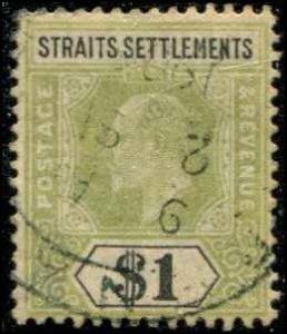 Straits Settlements SC# 102  Edward VII $1.00 Used  wmk 2