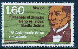 MEXICO 1229 175th Anniv Birth of Benito Juarez. Used. (856)