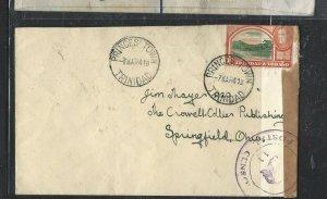 TRINIDAD & TOBAGO COVER (P2707B)  KGVI 8C CENSOR COVER PRINCESTOWN TO USA 1941