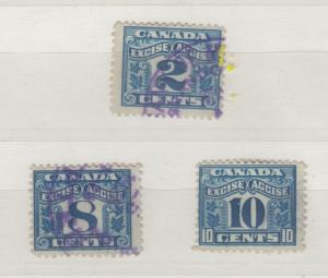 Canada Excise Duty Collection Of 3 2c 8c & 10c  J3940