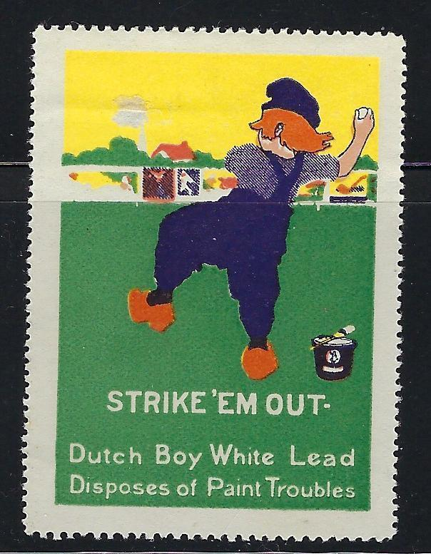 VEGAS- Early 1900s Dutch Boy Baseball White Lead Paint Cleaner Ad Poster Stamp