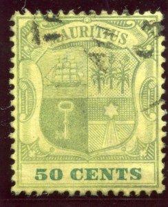 Mauritius 1902 KEVII 50c dull purple & deep green/yellow VFU. SG 152. Sc 111.