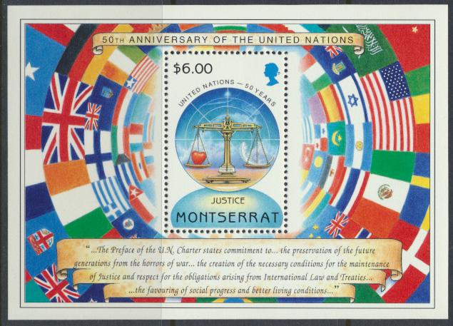 Montserrat    SG  MS979  SC#978  50th Anniversary of United Nations 1995