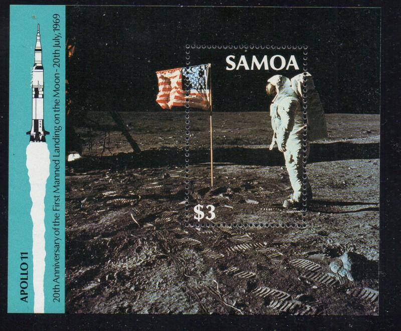 Samoa Sc 764 1989 20th Anniv Moon Land stamp sheet mint NH
