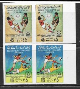 Libya 827-8 Soccer MNH cpl. set impf. pair, vf. 2022 CV $ 35.00