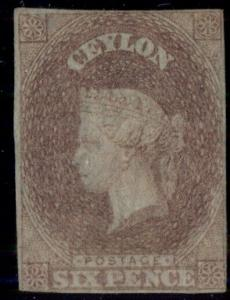 CEYLON #2, 6p plum on blued paper, unused no gum, 4 margins, rare, Scott $12,500