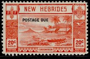 NEW HEBRIDES GVI SG D8, 20c scarlet, M MINT. Cat £42.
