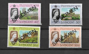 St.Vincent 1978 Coronation Set of 4 overprinted SPECIMEN