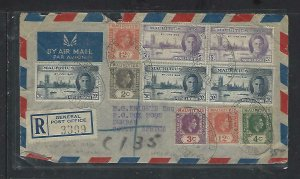 MAURITIUS COVER (P1311B) 1947 KGVI 6 DEF STAMPS+5 PEACE ISSUES REG A/M TO SA