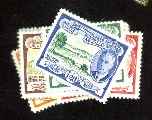 St Kitts Nevis #107-117 MINT FVF OG HR Cat$17.50