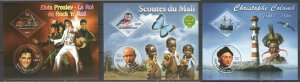 PE24-26 2009 MALI SCOUTS BIRDS SHIPS COLUMBUS DINOSAURS PRESLEY MOTOS 3BL MNH