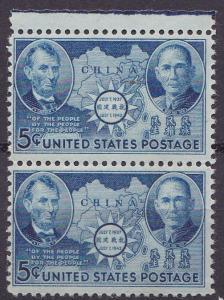 United States 1942 Chinese Resistance Sun Yat Sen & Lincoln Scott 906 PAIR VF/NH