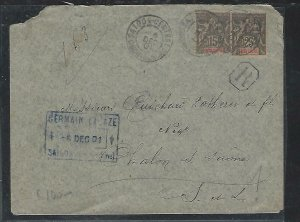 FRENCH INDOCHINA  (PP3008B) 1901   COVER 15C+25C  SAIGON TO FRANCE