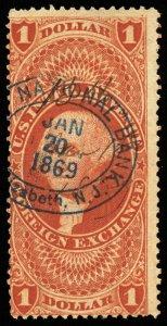 B626 U.S. Revenue Scott #R68c $1 Foreign Exchange, 1869 oval bank handstamp cxl