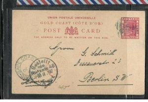GOLD COAST (P3005B) 1897 QV 1D PSC CAPE COAST  TO GERMANY   LONG MSG