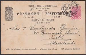 FINLAND 1898 10p postcard to Scotland. Helsinki - St. Petersburg TPO pmk...53676