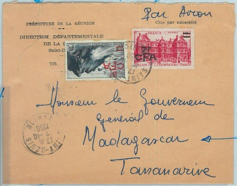 67324 -  FRENCH COLONIES: REUNION - Postal History - COVER to MADAGASCAR! 1950
