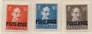Denmark Sc Q28-30 1945 Christian X Post Faerge overprint stamp set mint NH