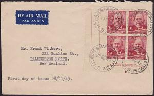 AUSTRALIA 1949 John Forrest imprint block on plain FDC......................3726