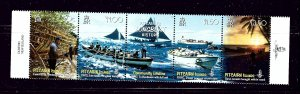 Pitcairn Is 669 MNH 2008 Longboat History strip of 5 (Been folded)