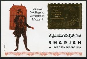 SHARJAH WOLFGANG AMADEUS MOZART  IMPERF GOLD FOIL SOUVENIR SHEET MINT NH
