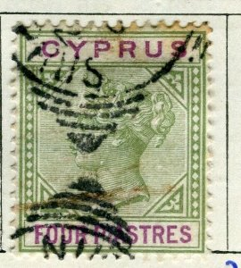 CYPRUS; 1894 classic QV Crown CA issue fine used 4Pi. value