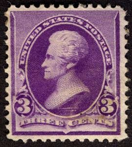 US  #221 SCV $275.00 VF/XF mint never hinged, well centered and fresh,  Super...