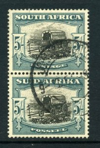South Africa 1947 KGVI 5/- with FLAW pale blue-green pair SG 122 used.