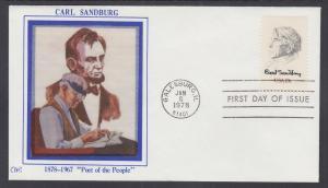 US Planty 1731-S FDC. 1978 13c Carl Sandburg, Western Silk First Cachet, F-VF