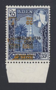 South Arabia, Seiyun, SG 69v, MNH. 1966 Olympic Games, Inverted Surcharge, Cert
