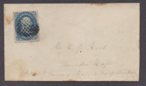 **US 19th Century Pat Cover, SC# 63, Grid Cxl Worchester, MA,1860's, Drop Letter
